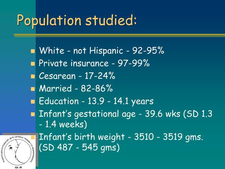 Population studied: