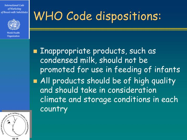 WHO Code dispositions: