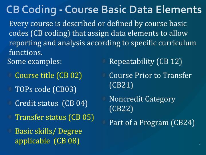 CB Coding - Course Basic Data Elements