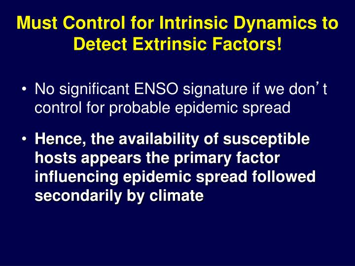 Must Control for Intrinsic Dynamics to Detect Extrinsic Factors!