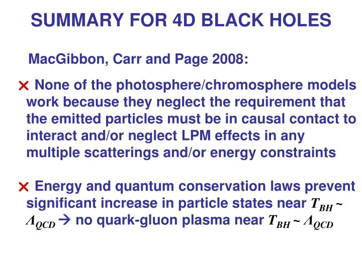 SUMMARY FOR 4D BLACK HOLES