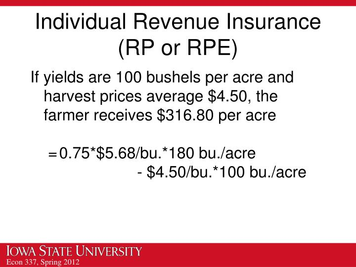Individual Revenue Insurance