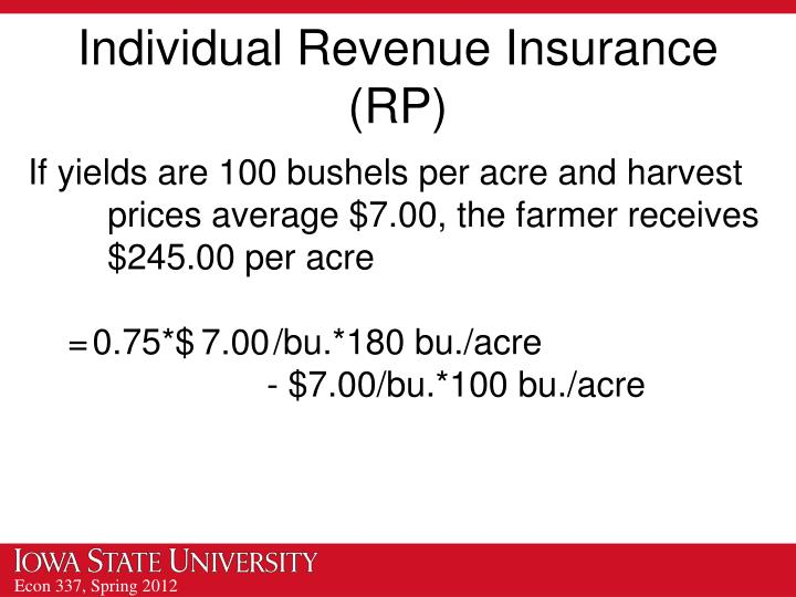 Individual Revenue Insurance (RP)