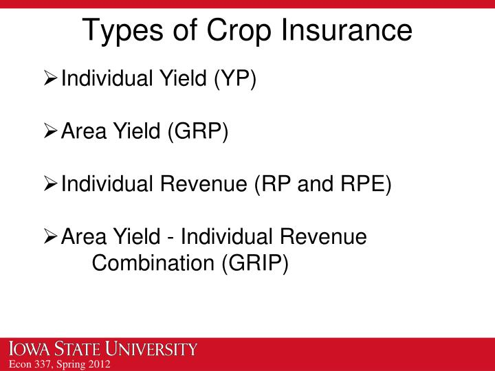 Types of Crop Insurance