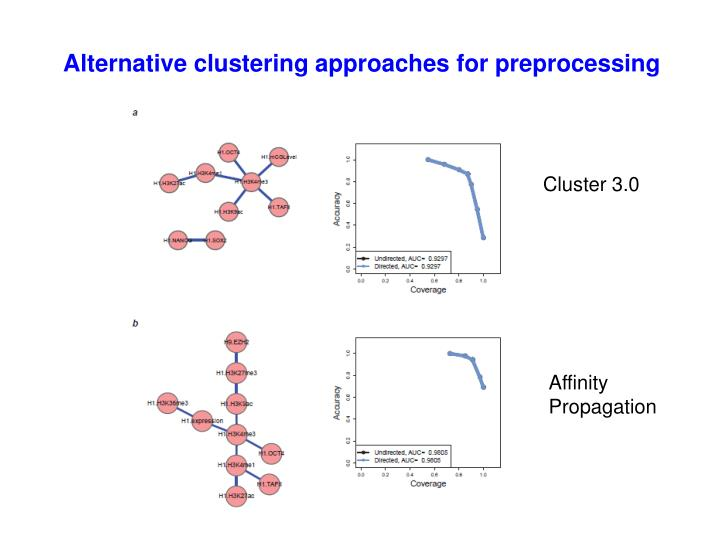 Alternative clustering approaches for preprocessing