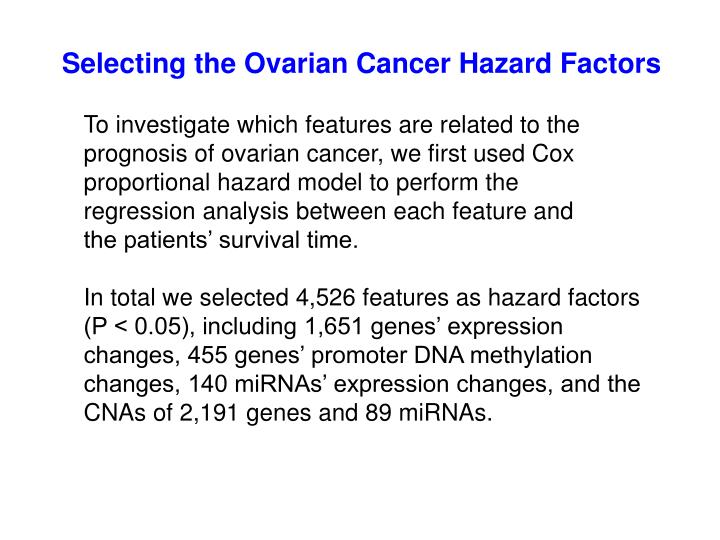 Selecting the Ovarian Cancer Hazard Factors