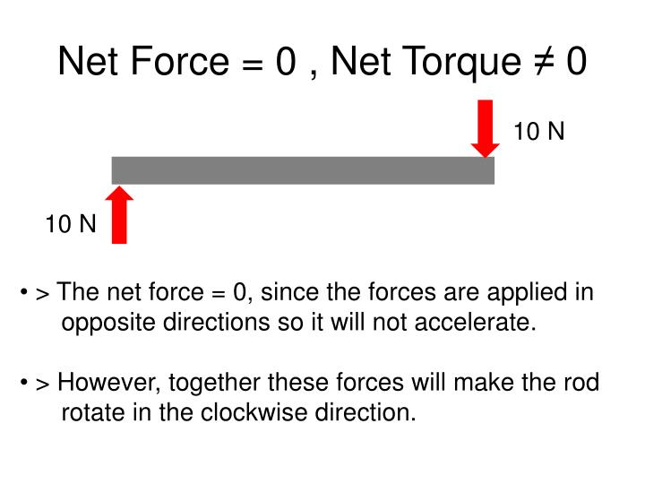Net Force = 0 , Net Torque
