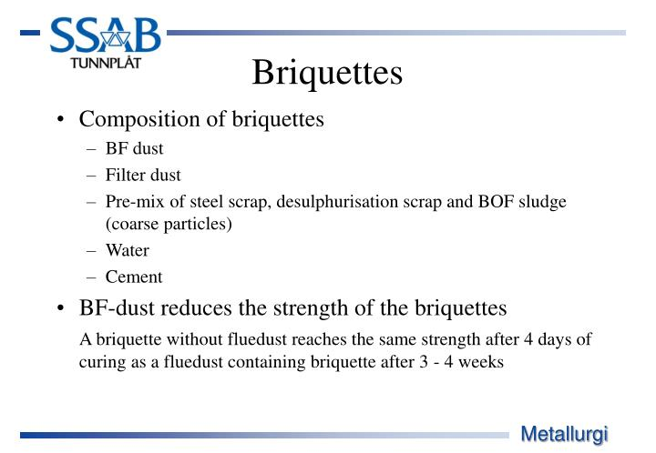 Composition of briquettes