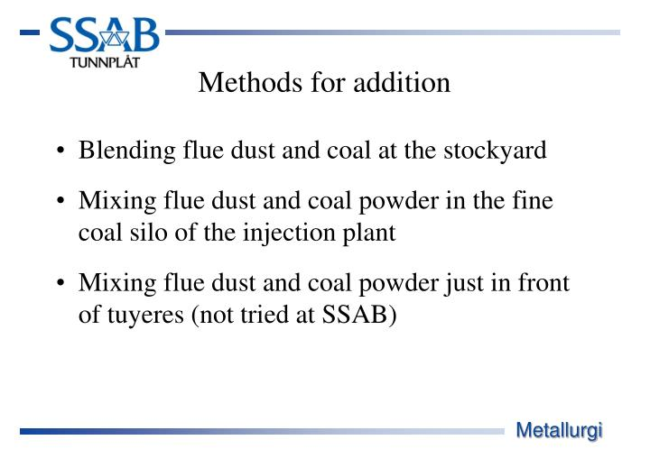 Blending flue dust and coal at the stockyard