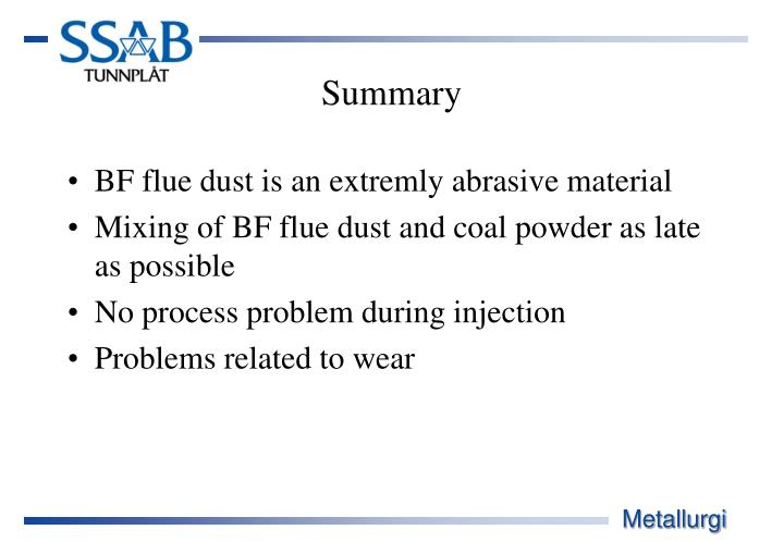 BF flue dust is an extremly abrasive material