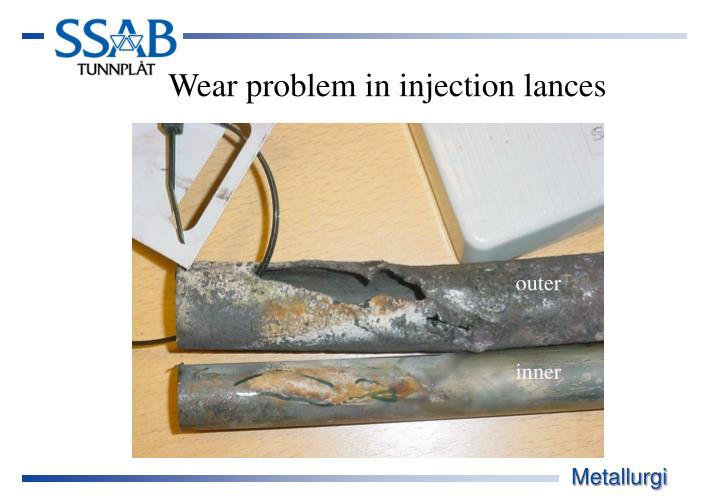 Wear problem in injection lances