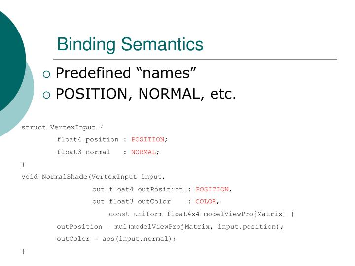 Binding Semantics