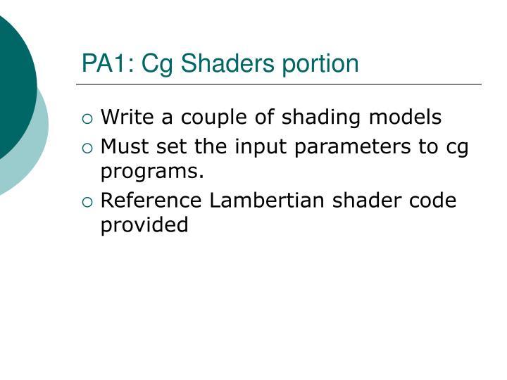 PA1: Cg Shaders portion