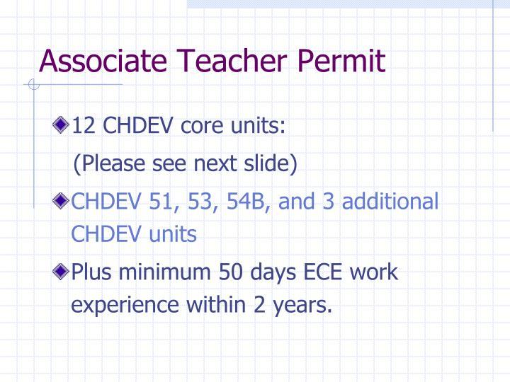 Associate Teacher Permit
