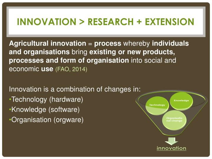 INNOVATION > RESEARCH + EXTENSION