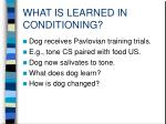 what is learned in conditioning
