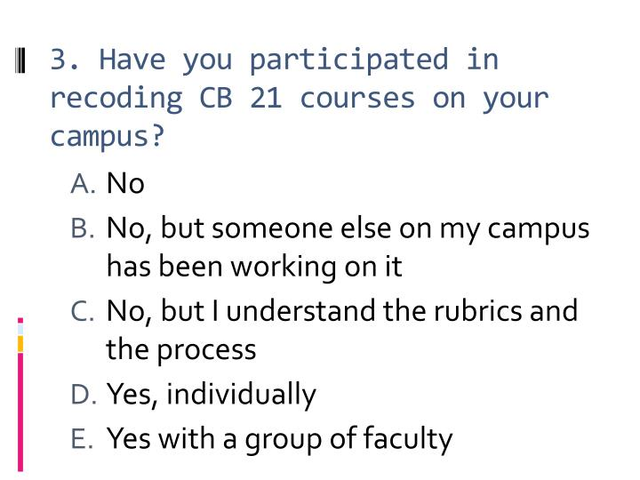 3. Have you participated in recoding CB 21 courses on your campus?
