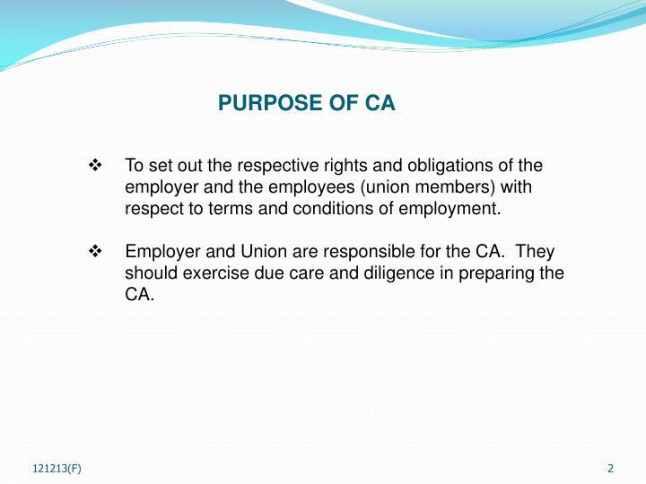 PURPOSE OF CA