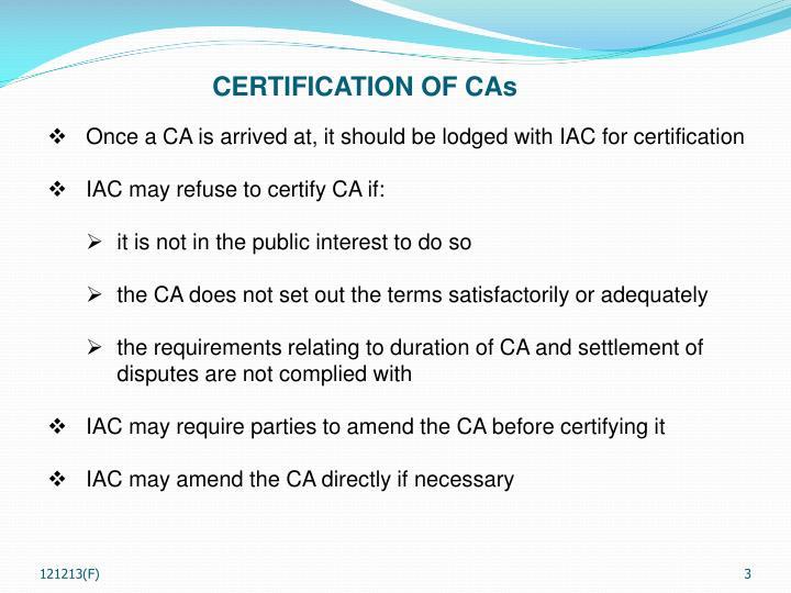 CERTIFICATION OF CAs