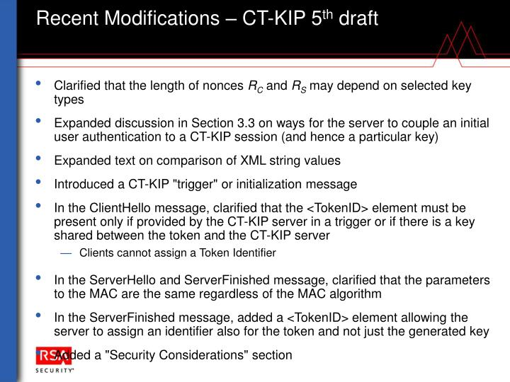 Recent Modifications – CT-KIP 5