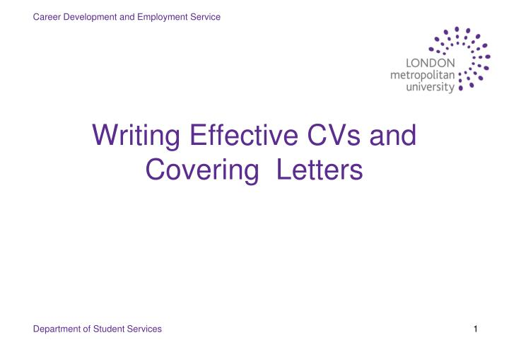 writing effective cvs and cover letters