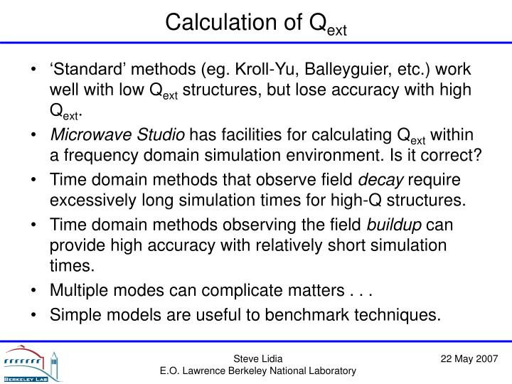 Calculation of Q