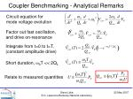 coupler benchmarking analytical remarks