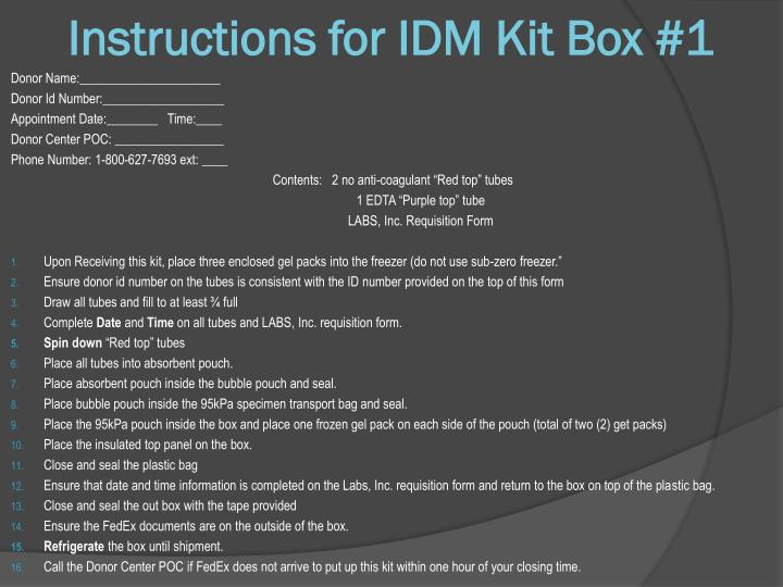 Instructions for IDM Kit Box #1