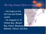 the trip around africa to india