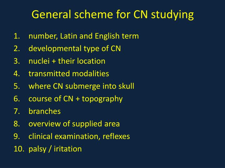 General scheme for CN studying