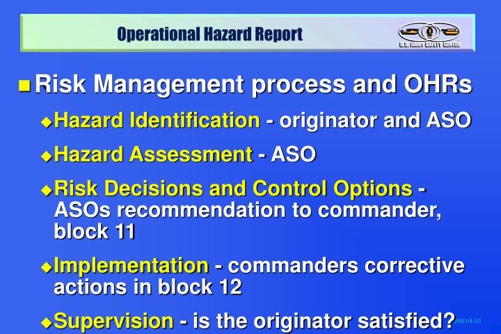 Risk Management process and OHRs