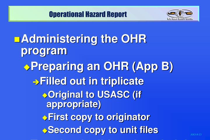 Administering the OHR program