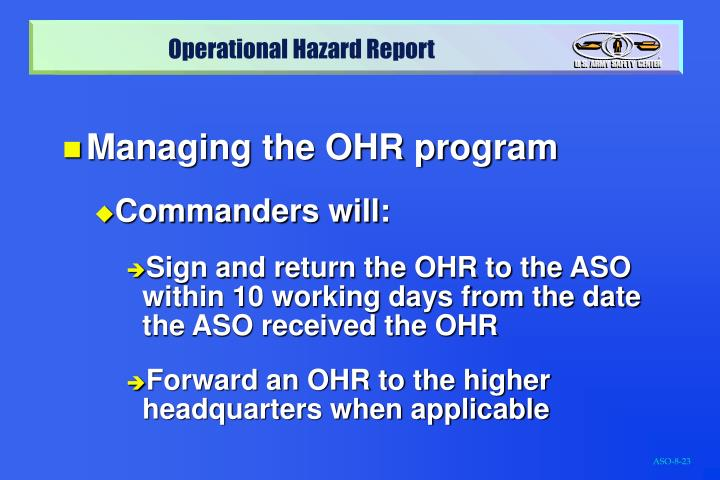 Managing the OHR program