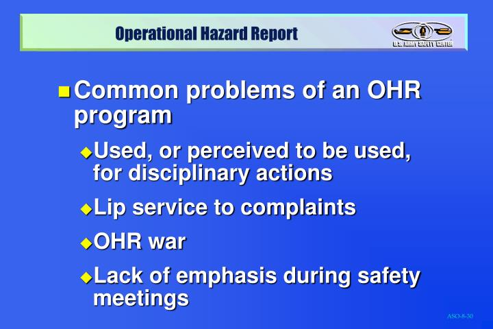 Common problems of an OHR program