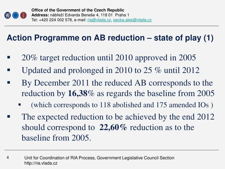 Action Programme on AB reduction – state of play (1)