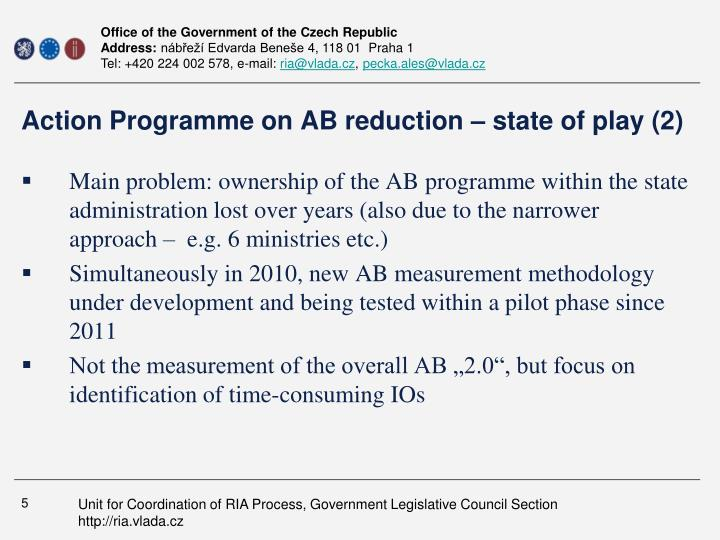 Action Programme on AB reduction – state of play (2)
