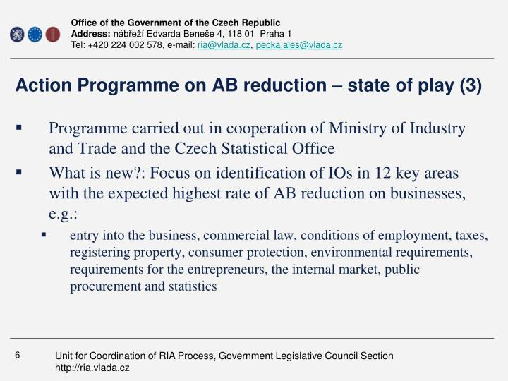 Action Programme on AB reduction – state of play (3)