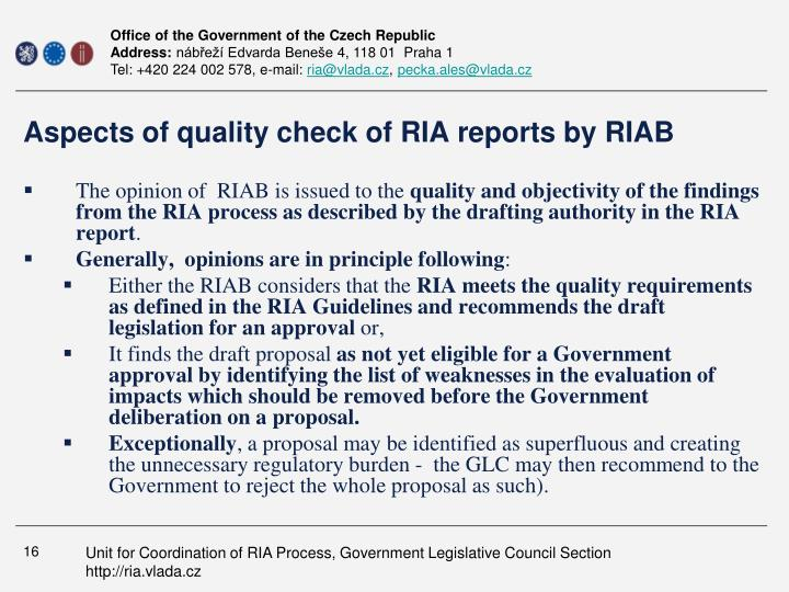 Aspects of quality check of RIA reports by RIAB
