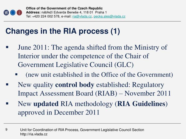 Changes in the RIA process (1)