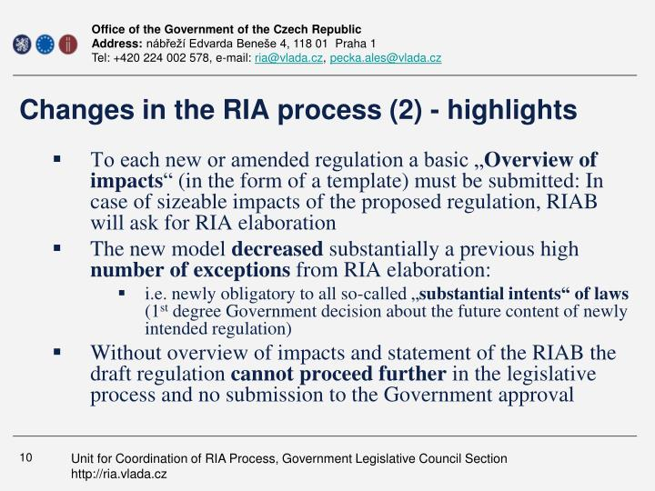 Changes in the RIA process (2) - highlights