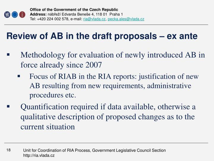 Review of AB in the draft proposals – ex ante