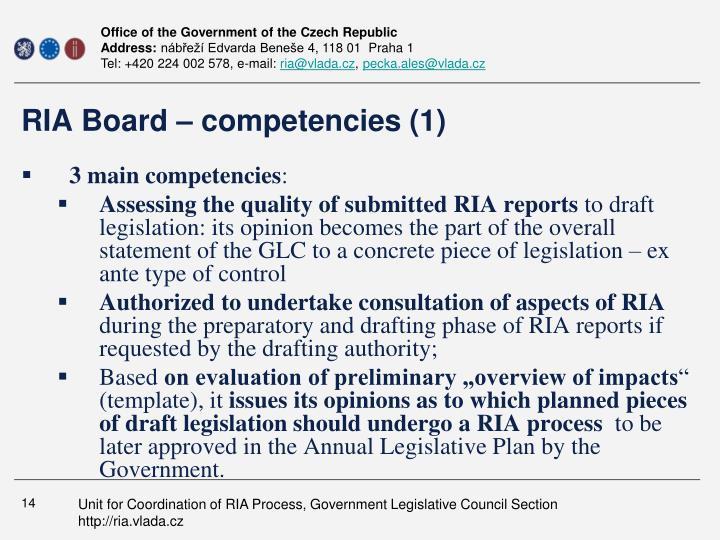 RIA Board – competencies (1)