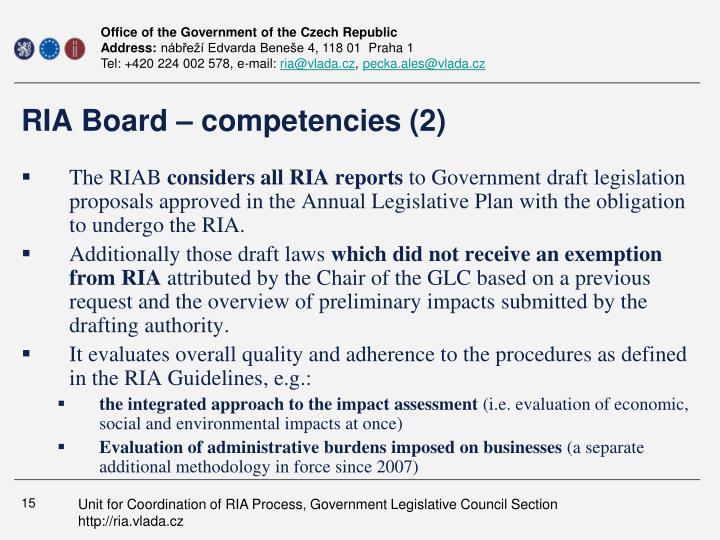 RIA Board – competencies (2)