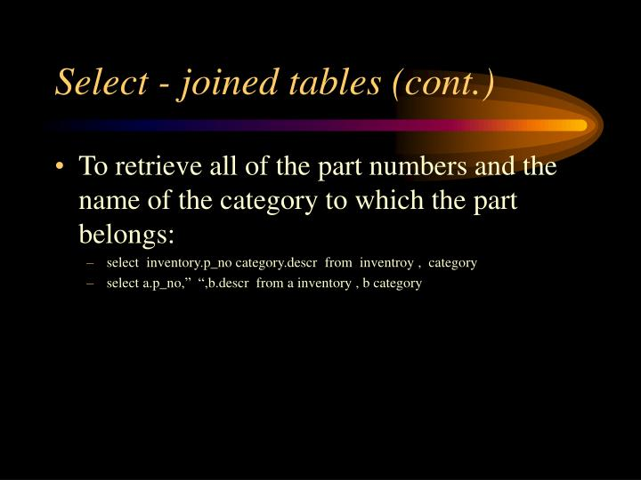 Select - joined tables (cont.)