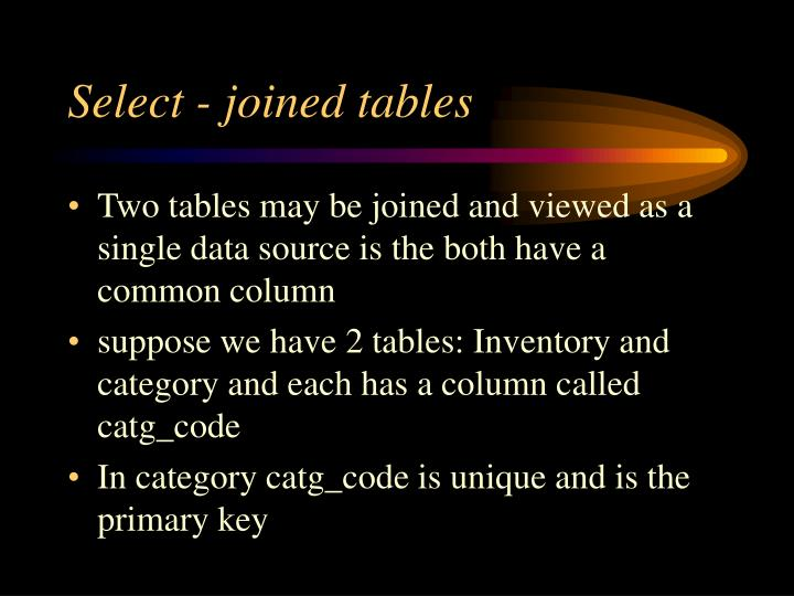 Select - joined tables