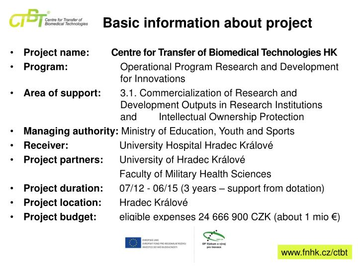 Basic information about project
