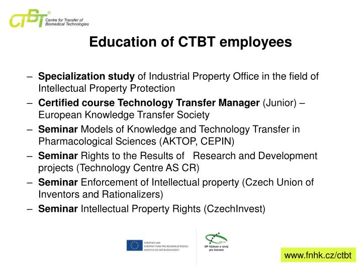 Education of CTBT employees