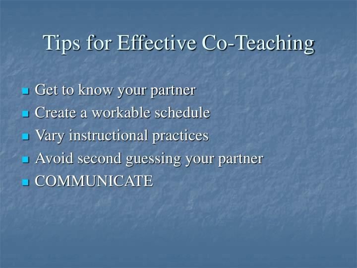 Tips for Effective Co-Teaching