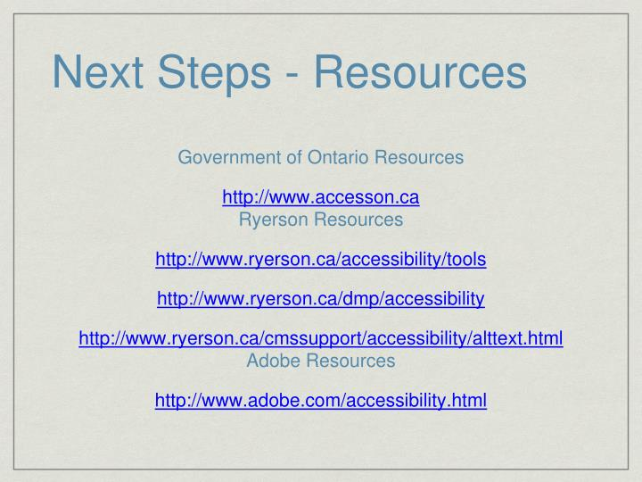 Next Steps - Resources