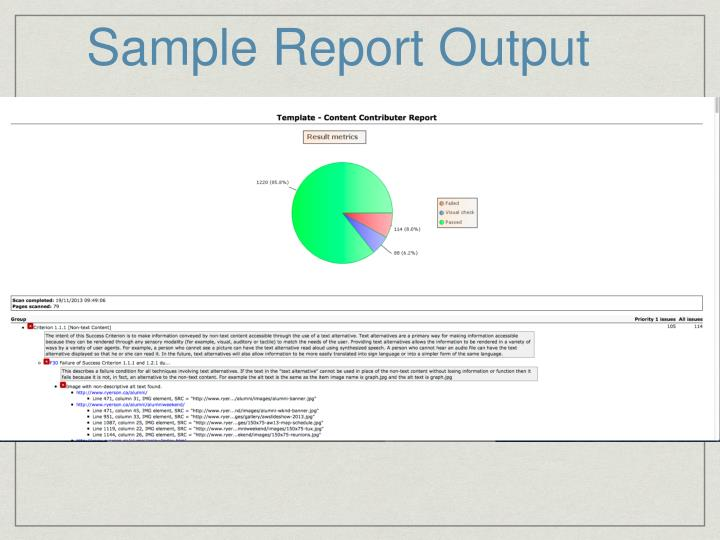 Sample Report Output